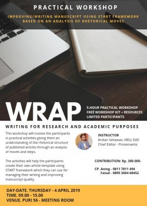 Kegiatan Workshop penulisan Jurnal Scopus dengan nara sumber Ardian Setiawan, MEd, EdD